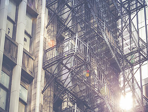 Fire escape on an old building in USA